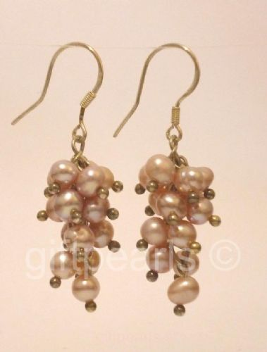 Lavender pearl 'Grapes' ear-rings.